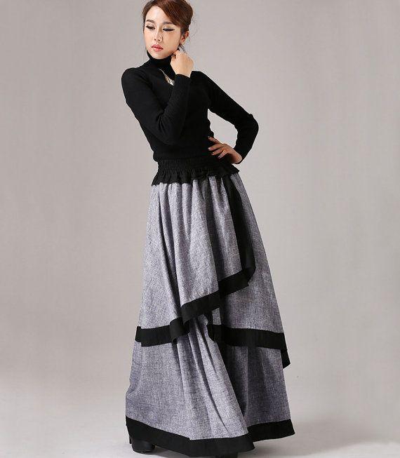 Gray long skirt  linen maxi skirt layered skirt  771 by xiaolizi, $89.00