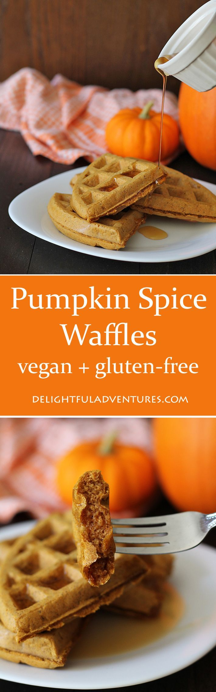 Satisfy your craving for pumpkin spice with these vegan gluten-free pumpkin spice waffles at breakfast. Crispy on the outside, soft and fluffy inside!