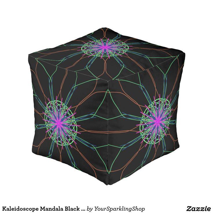 Kaleidoscope Mandala Black Pink Star Cube Pouf