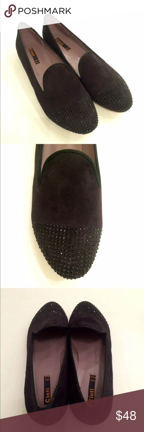 """New! Cinti Italian Loafers New! Cinti Italian Loafers...gorgeous black suede flats (heel 0.75"""")...round toe...non-slip sole...slightly iridescent black rhinestones at toe...imported...original box not included. Euro size 40 = US 9.5. Retail $129 Cinti Shoes Flats & Loafers"""
