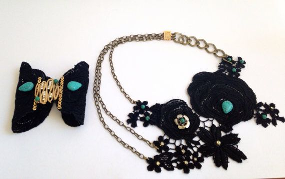Black and green lace necklace. Black cocktail necklace