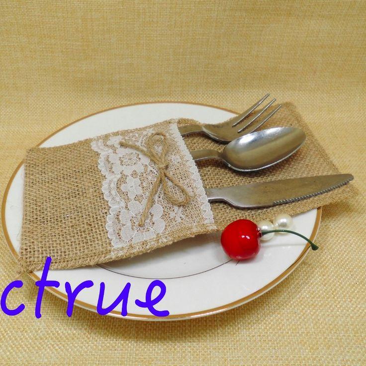 24pc Rustic Wedding Bowtie Tableware Pouch/ Burlap Silverware Holders/Country Wedding Jute Lace Pouch Cover adornos de boda