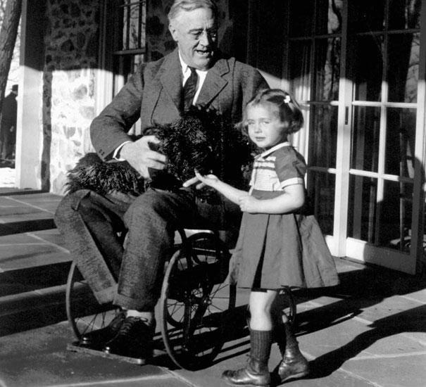 A wheelchair-bound President Franklin Roosevelt holds his black Scottish terrier, Fala.
