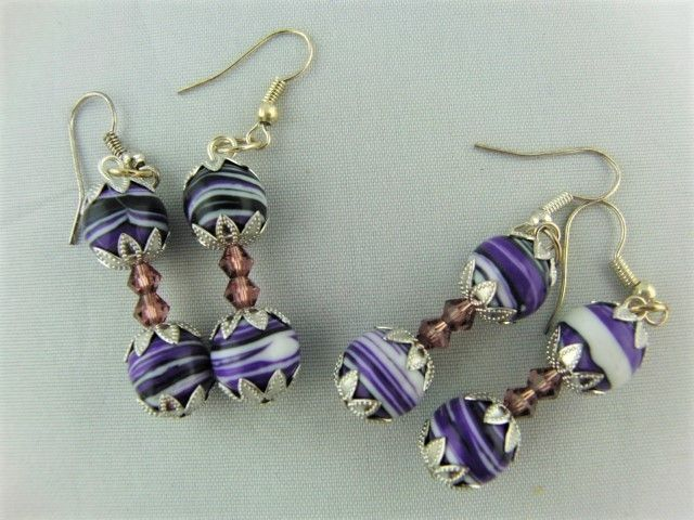 Purple Agate Bead and Two Lilac Crystal Bead Earrings for Pierced Ears £6.00