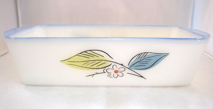 Fire King Biscayne Loaf Baking Pan Blue Yellow Leaves Milk Glass #FireKing