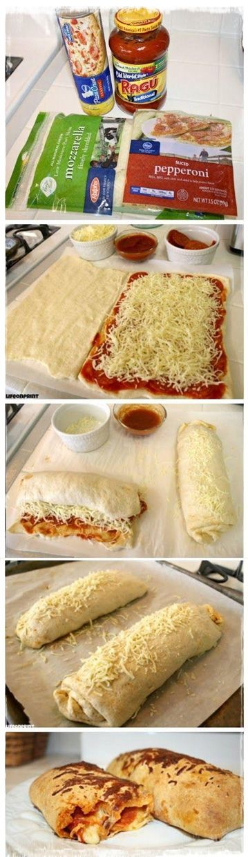 Easy Pizza Roll-Ups Recipe | Homemade Food Recipes... Just brush the top with butter/ olive oil and garlic seasoning... Yum!!!