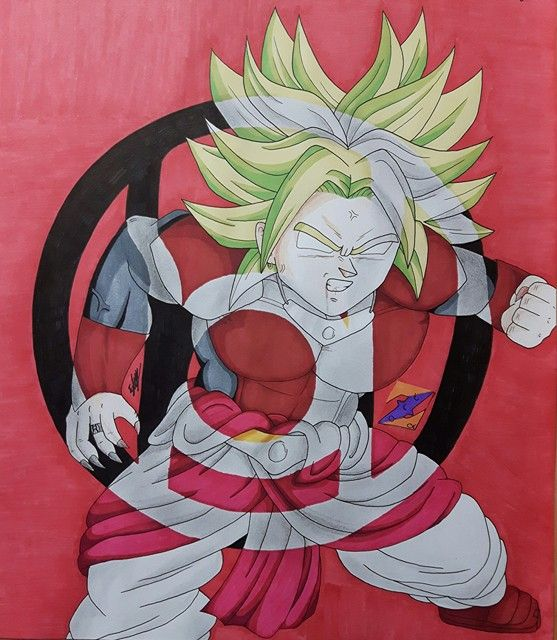 Dragon Ball x DC Lantern Corps - Red Lantern Broly fanart from Dragon Ball Z and DC Comics by ZorArt