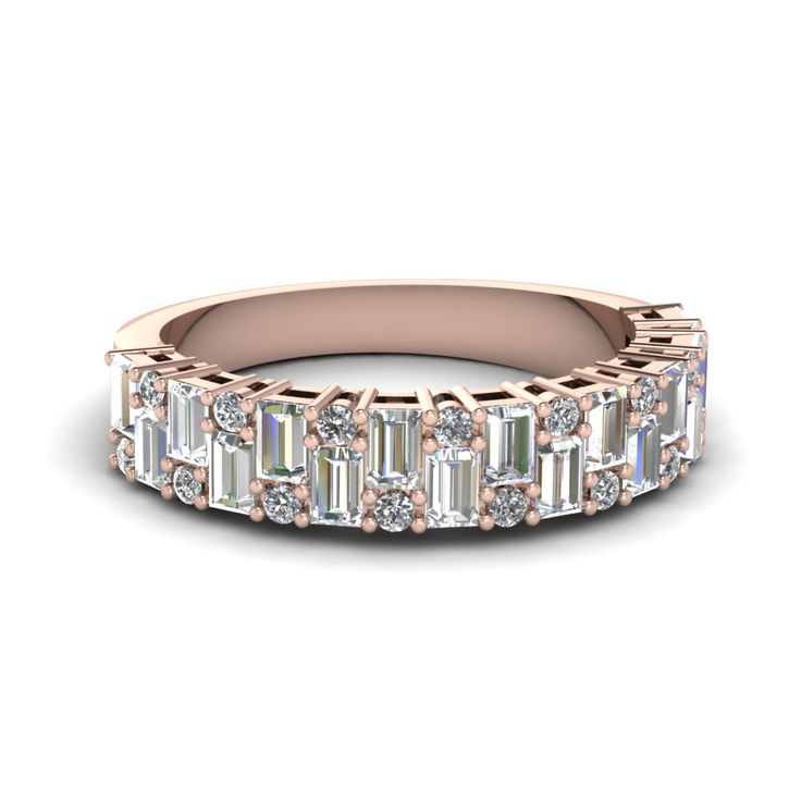 Womens Wedding Bands with White Diamond in 14K Rose Gold | Vintage Baguette Wedding Band | Fascinating Diamonds