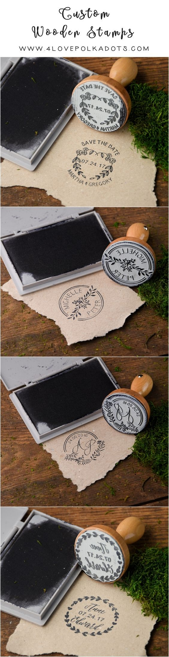 Rustic country wood wedding stamps