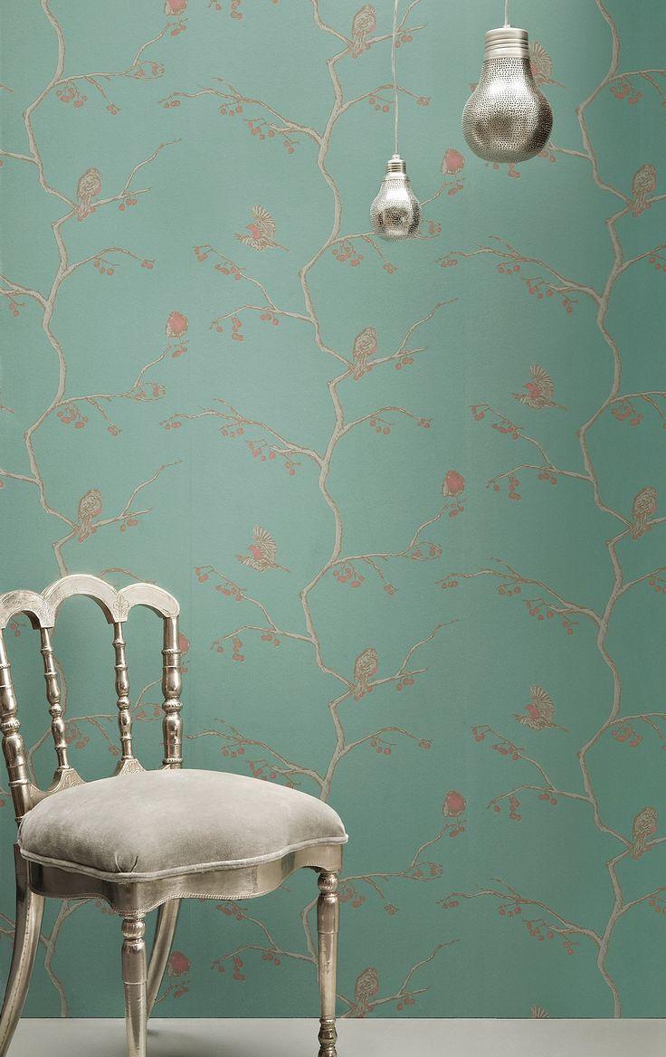 Home diy wallpaper illustration arthouse imagine fern plum motif vinyl - Barneby Gates English Robin Wallpaper Jade View All Wallpaper Decor