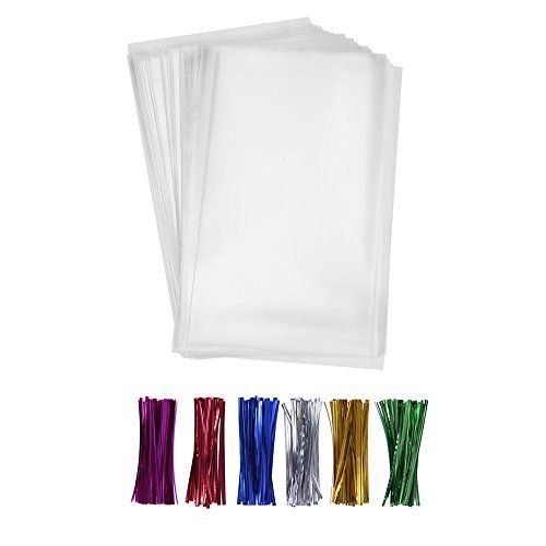 "200 Clear Treat Bags 6x9 with 4"" Twist Ties 6 Mix Colors - Thick OPP Plastic Bags for Wedding Cookie Birthday Cake Pops Gift Candy Buffet Supplies"