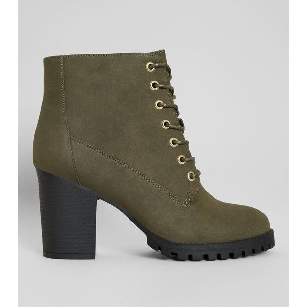 New Look Khaki Lace Up Heeled Biker Boots (€34) ❤ liked on Polyvore featuring shoes, boots, khaki, lace up block heel boots, lacing boots, khaki boots, lace up boots and lace up shoes