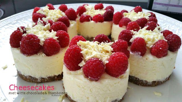 Ellouisa: Mini cheesecakes met witte chocolade en frambozen