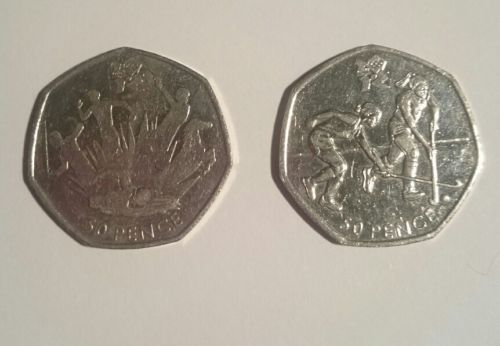 Two #olympic fifty #pence 50p #coins dated 2011 - modern pentathlon and hockey,  View more on the LINK: 	http://www.zeppy.io/product/gb/2/162393492750/