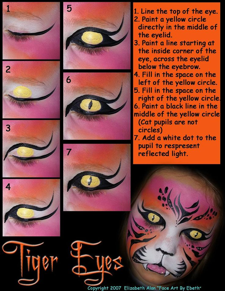 cool tiger eyes step by step face painting