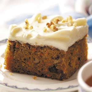 Classic Carrot Cake - no raisins or coconut... just the way I like it. Secret: Crushed Pineapple - so moist. Also, I replaced 1/2 oil with buttermilk; and substituted chopped pecans for chopped walnuts.