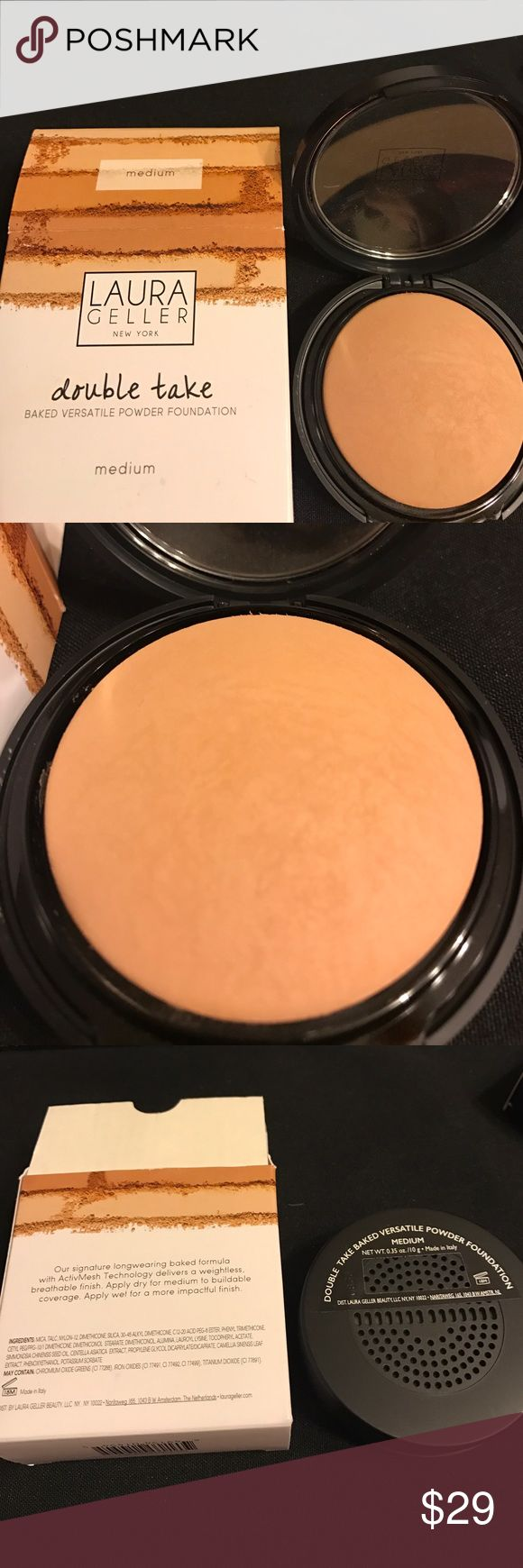 Laura Geller Foundation Medium Baked Powder Great! Laura Geller Double Take Powder Foundation Medium New. I love this foundation it covers and lasts so great. You can wear with alone or as Setting powder for a little more flawless skin over your foundation. Sephora Makeup Foundation
