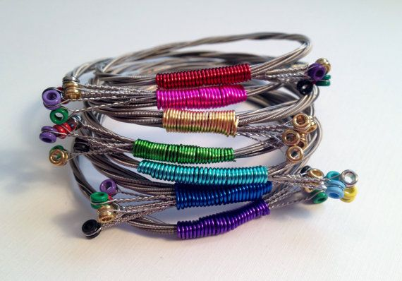 Custom Guitar String Bangle Bracelet - Choose Your Color - Handmade Recycled Jewelry