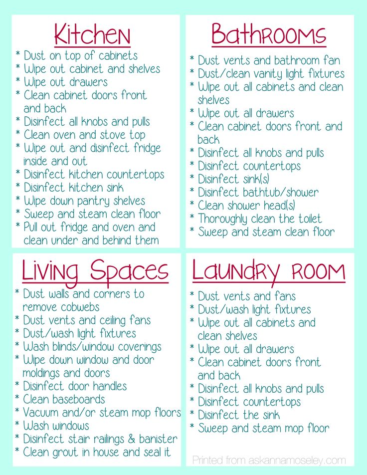 Checklist for everything you should clean when moving into a new home