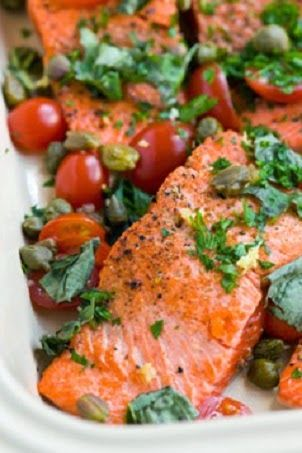 Mediterranean Salmon with Tomato and Capers