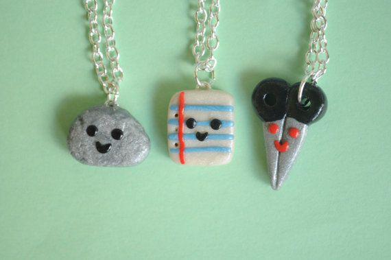 Kawaii Rock Paper Scissor 3 Way Trio Polymer Clay Charm Necklace, Back to School, Nostalgic Hand Game, Miniature Jewelry