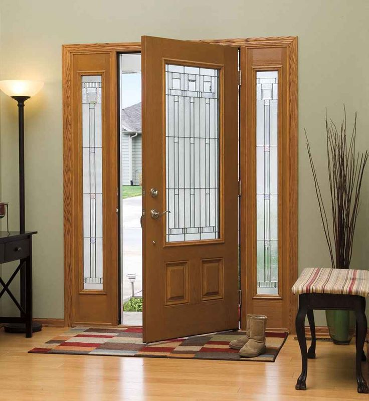 Neutral Brown Wood Lighted Masonite Interior Entry Doors Design Collections  With Lite Style Double Glass Rectangle Doorlite And High Rectangle Shaped  Side ...