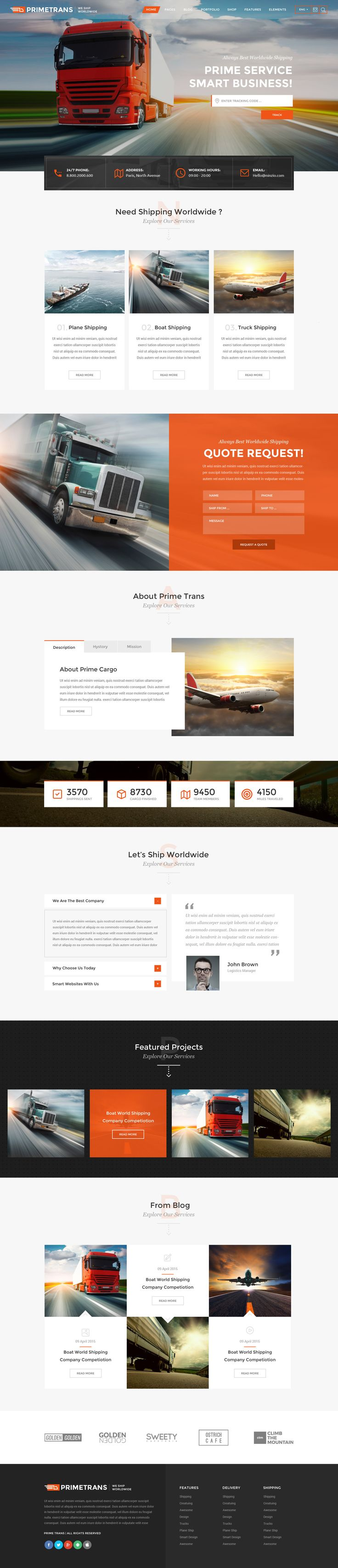 Prime Trans can be usd for any tipe of #logistics and transport companies. This is powerful PSD #template with tons of customization options and features.We have created 13 #PSD files, which you can change and customize easily. 3 Home page layouts included and inner pages. Also you can find blog, Portfolio and Shop Designs, loop and inner. We hope you will like our hard work.