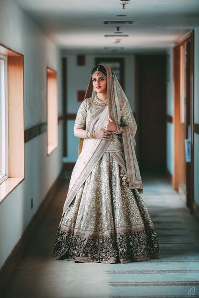Bridal Lehenga - Steel Grey Bridal Lehenga | WedMeGood | Steel Grey Lehenga with Silver Embroidery and Black Border, Double Dupatta  #wedmegoof #indianwedding #indianbride #steelgrey #bridal #lehenga #silver