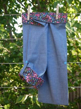 SALE $19.98 - Girl's Wrap Pant (Peace, Love & Mung Beans!) 100% cotton UPF 20. These are our take on the Thai fishing pant. They are lightweight and super comfy. These pants are fastened with adjustable velcro, so they're easy to do up, even for those still in nappies or toilet training. The bottom of the legs can be rolled up and buttoned so they can also be worn as a ¾ pant. They are 100% Australian made and designed with sun protection in mind.  www.shadydays.com.au