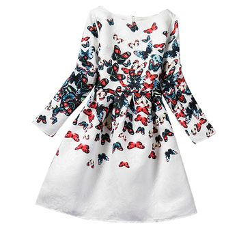Ai Meng Baby Dress Girl Autumn Dresses Brand Girls Clothes Long Sleeve Floral Print Children Clothing For Teenager Girl 12 Years
