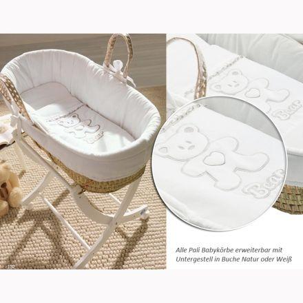 Tragbares Babykörbchen 'Bärenherz', komplett ausgestattet