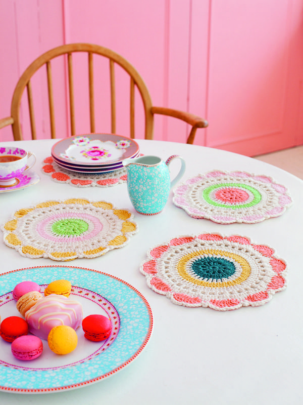 How pretty are these doilies? Debbie Bliss knitting patterns, Debbie Bliss Crochet Living, Dashing Doilies, from Laughing Hens