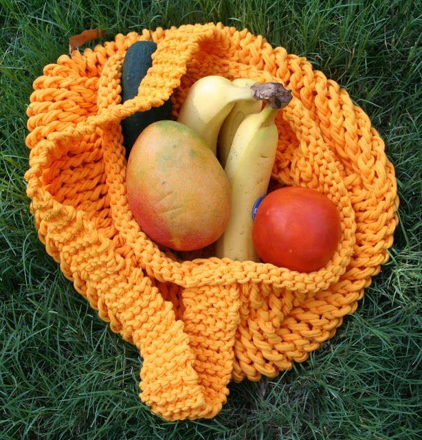 T-Shirt Yarn Knit Market Bag Tutorial - So You Think You're Crafty
