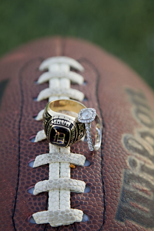 High school sweethearts - Engagement Photography - Football Class Ring / Diamond Ring Photo By Celeste Nicole Photography