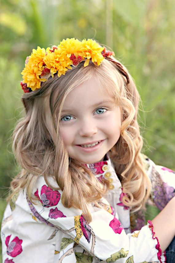 Sunflower Floral Crown  Flower Halo in fall by LittleLadyAccessory