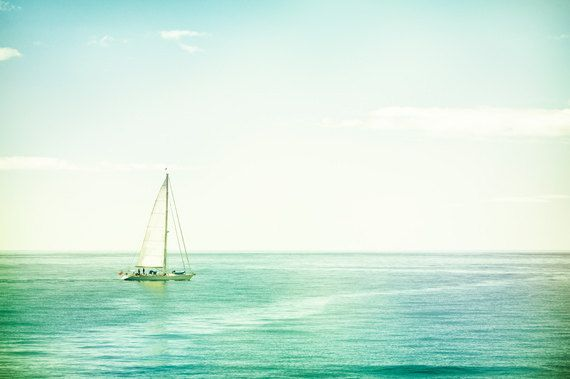 Sailboat Photography - ocean sea seascape photo blue mint ...