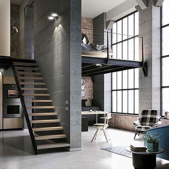 Loft industriel, chambre en mezzanine   Industrial loft, mezzanine Bedroom   #architectureintérieure  #interiordesign  #décoration:
