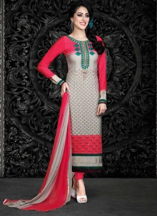 Amazing Grey And Pink Shaded French Crape Printed Churidar Suit