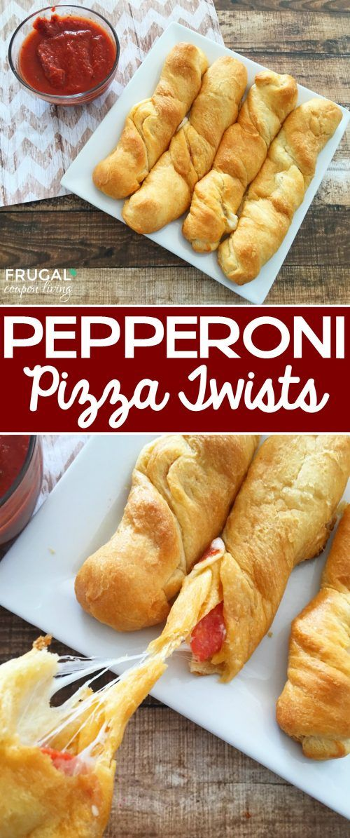 Pepperoni Pizza Twists and Pillsbury Crescent Rolls Recipes - Crescent Roll Ideas for Entrees, Snacks, Appetizers, Desserts and More on Frugal Coupon Living.
