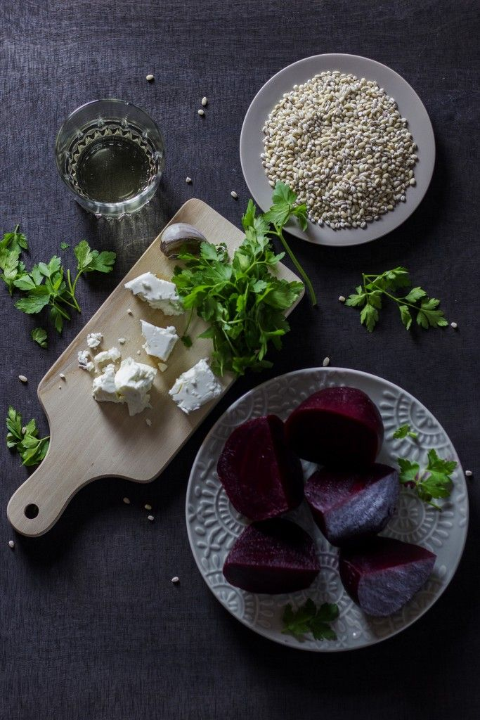 INGREDIENTS - BARLEY RISOTTO WITH BEETROOTS AND FETA