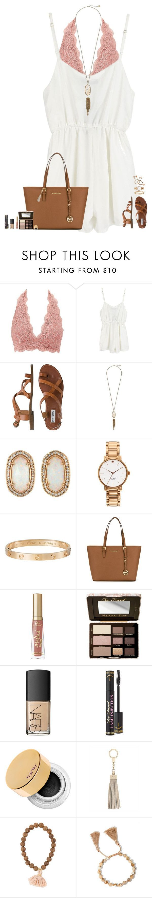 """- b o h o v i b e s -"" by maggie-prep ❤️ liked on Polyvore featuring Charlotte Russe, Steve Madden, Kendra Scott, Kate Spade, Cartier, MICHAEL Michael Kors, Too Faced Cosmetics, NARS Cosmetics, tarte and maggiesbestsets"