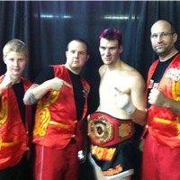 Sensei Jesse, Sensei Jason, Nak Muay Chris and Kyoshi Mike, after one of Chris's fights. Jason is a great coach!