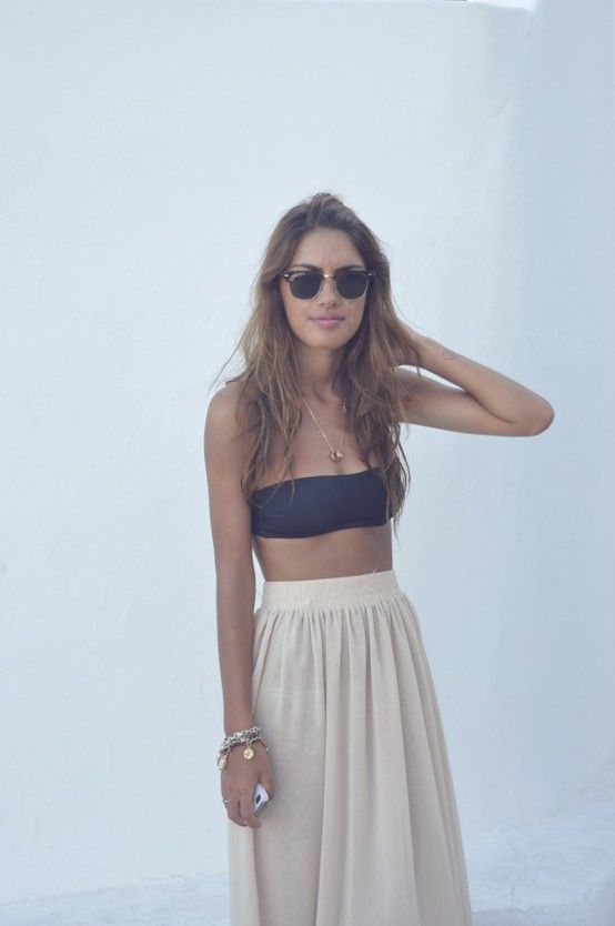 bandeau and maxi for summer. Could NEVER in my life pull this off, but I think it's super cute.