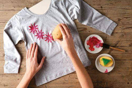 Kartoffeldruck auf Textilien