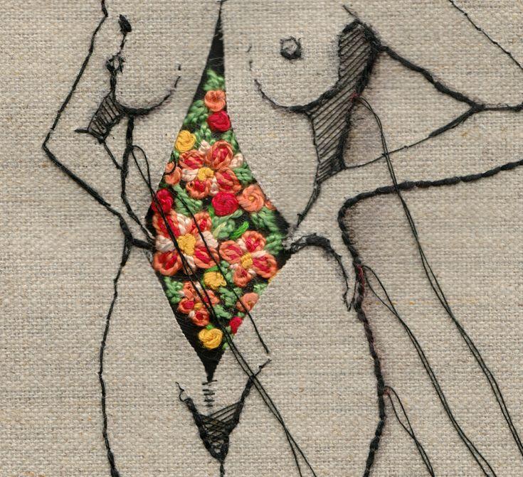 Andrea Farina est une illustratrice et designer. Elle développe un travail de broderie moderne qui se rattache à tout un pan de l'art contemporain féministe