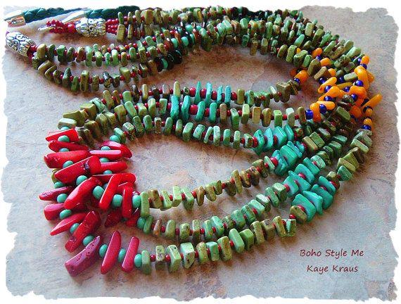 Rustieke Turquoise Tribal ketting Multi Strand door BohoStyleMe
