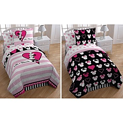 @Overstock - Add a magical touch to your bedroom decor with this incredible Minnie Mouse 'Hearts and Dots' bed in a bag set. This set features 132 thread count sheets and a reversible microfiber comforter.http://www.overstock.com/Bedding-Bath/Minnie-Mouse-Hearts-and-Dots-Twin-size-5-piece-Reversible-Bed-in-a-Bag-with-Sheet-Set/6384599/product.html?CID=214117 $79.99