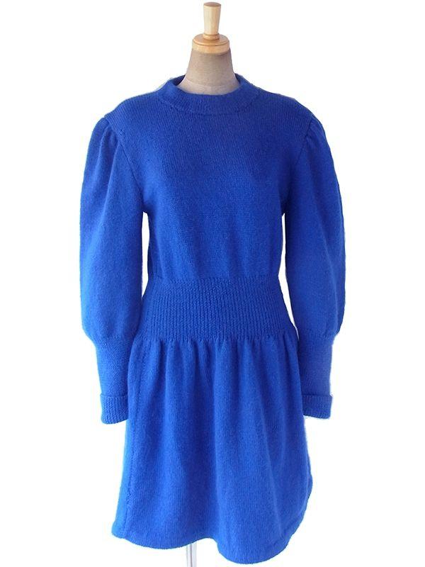 ヨーロッパ古着 ロンドン買い付け ロイヤルブルー X リブ編み ウールニット ワンピース 17BS118