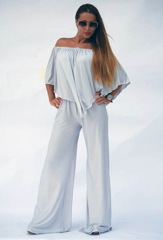 e51dd5d2bb1 Women Maxi Jumpsuit  Off the Shoulder Jumpsuit  Boho Style Jumpsuit  Long  Bell Bottom Jumper  Plus Size Jumpsuit  Cocktail Summer Jumpsuit