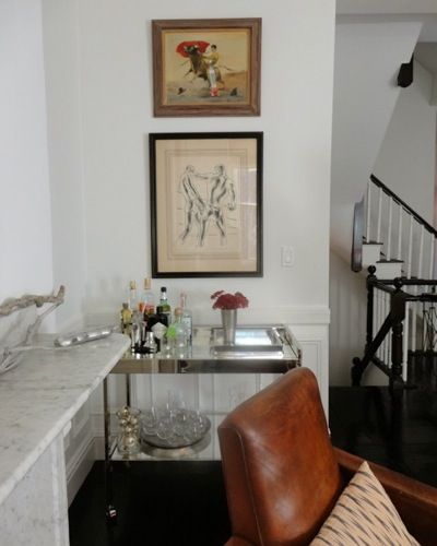 Worlds Away Bar Cart In A Boston Living Room